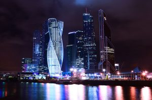 High tech buildings in Moscow, Russia lit up at night
