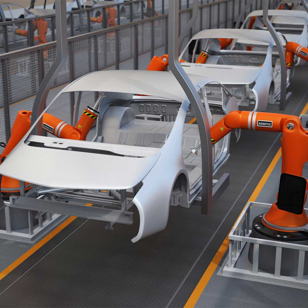 automated vehicle production line, car body assembly stage, in an industrial factory