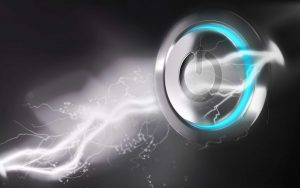 Power button with electricity