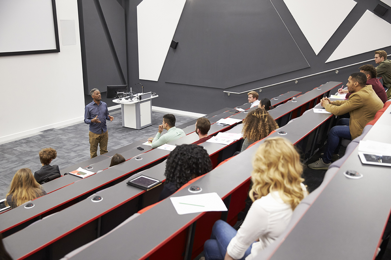 university lecture theater with students and lecturer