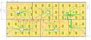 zone 1-4 with active zone cabling in office layout 2